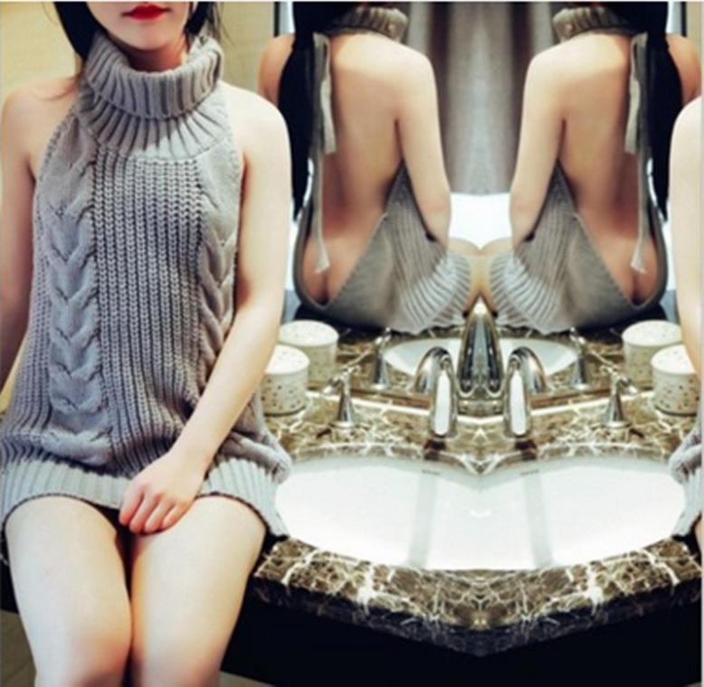 Damen Rollkragen Pullunder Sommer Virgin Killer Pullover Japanes gestrickte reizvolle Backless Frauen-Strickjacken Y200720