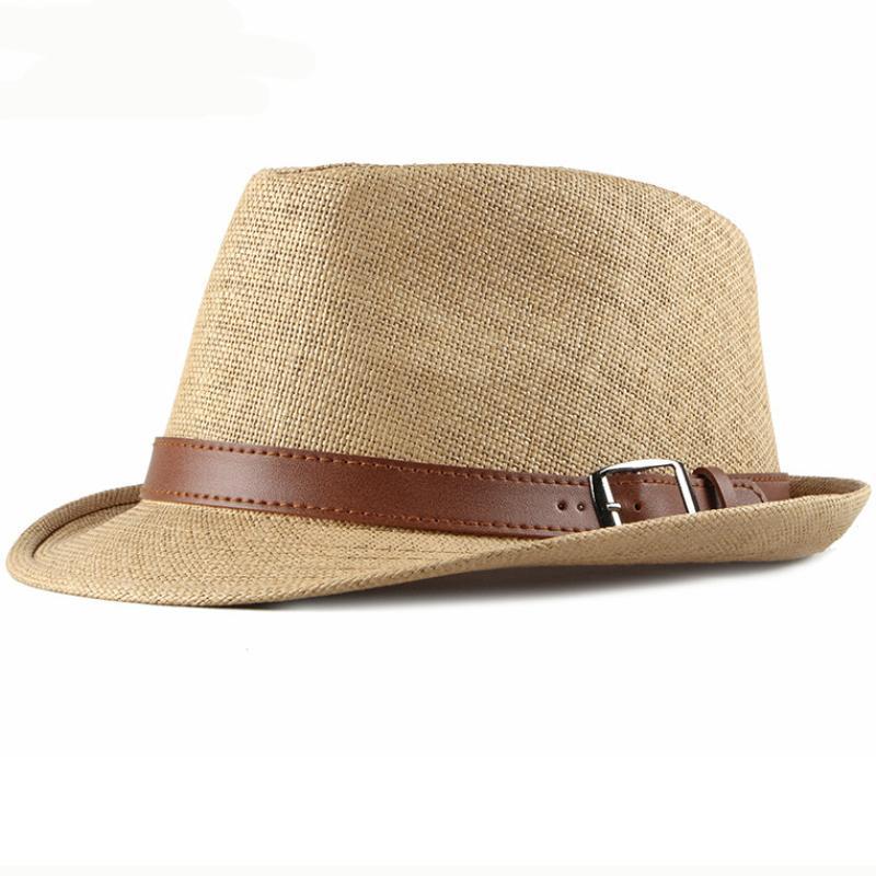 Kemer Kore Stili Erkek Fedoras Panama Şapka Yaz Y200619 ile Erkekler Plaj Şapka Vintage Kısa Brim Straw Güneş Şapkalar için HT2490 Yaz Şapka