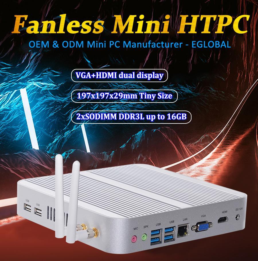 Mais barato Intel Core I5 4200U sem ventoinhas Mini PC com Windows 8.1 win10 8GB de RAM 500GB HDD HDMI
