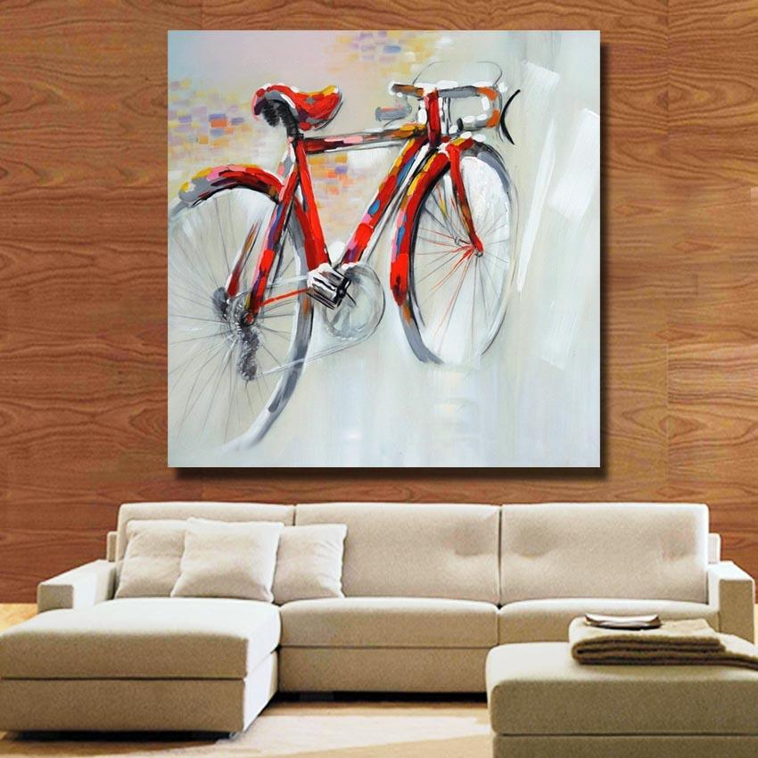 Wall Art Handpainted Oil Painting on Canvas Red Bicycle Pictures for Sitting Room Home Decoration No Frame