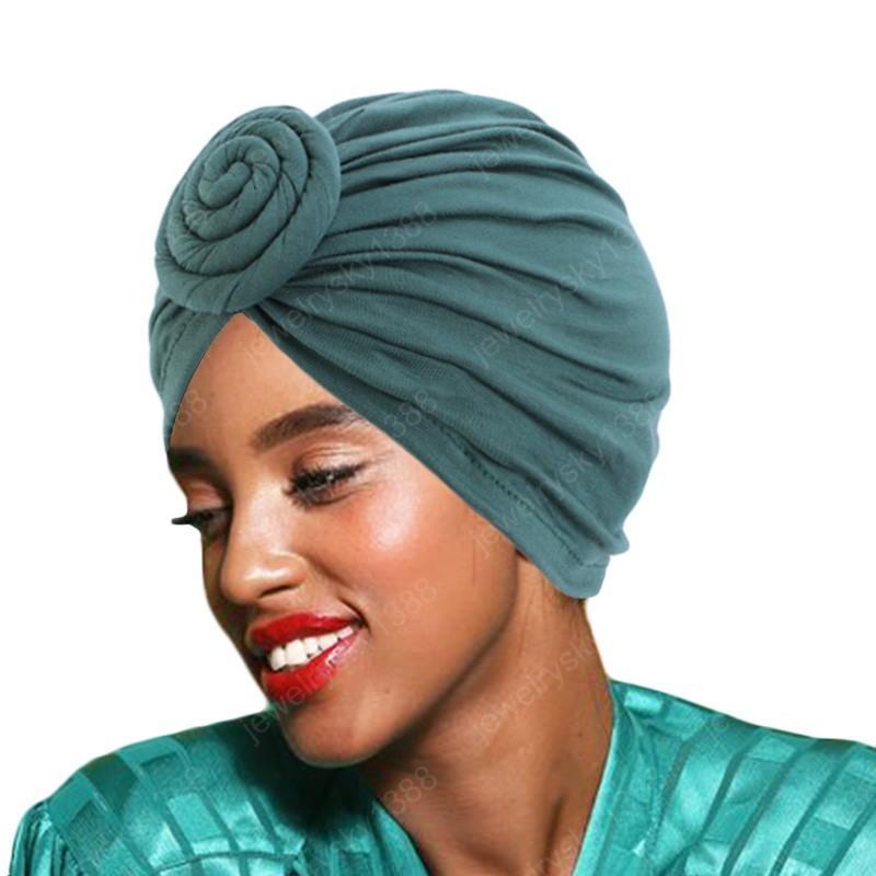 New Soft Ladies cotton Turban Hat Muslim Women Hijabs Hat Elastic Cloth Head Cap Hat Ladies Hair Accessories Muslim Scarf Cap