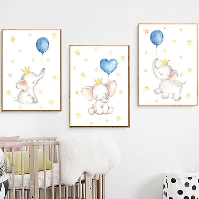 Impressão Balão azul da arte da lona do elefante Crown Nursery Wall Art Picture Stars Nordic Poster do bebê Pinturas Crianças Quarto Wall Decor