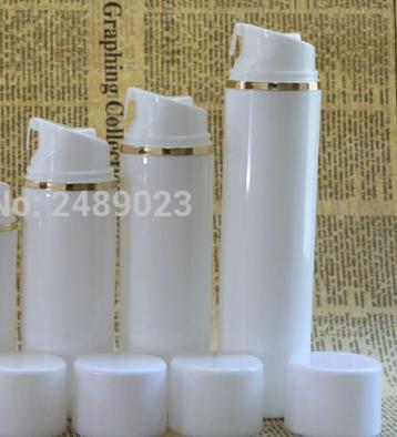 Cap Kozmetik Konteynerleri 100pcs için birlikte / lot 30ml 50ml 80ml 100ml 120ml 150ml Altın Hattı Havasız Vakum Pompası Losyonu Şişe