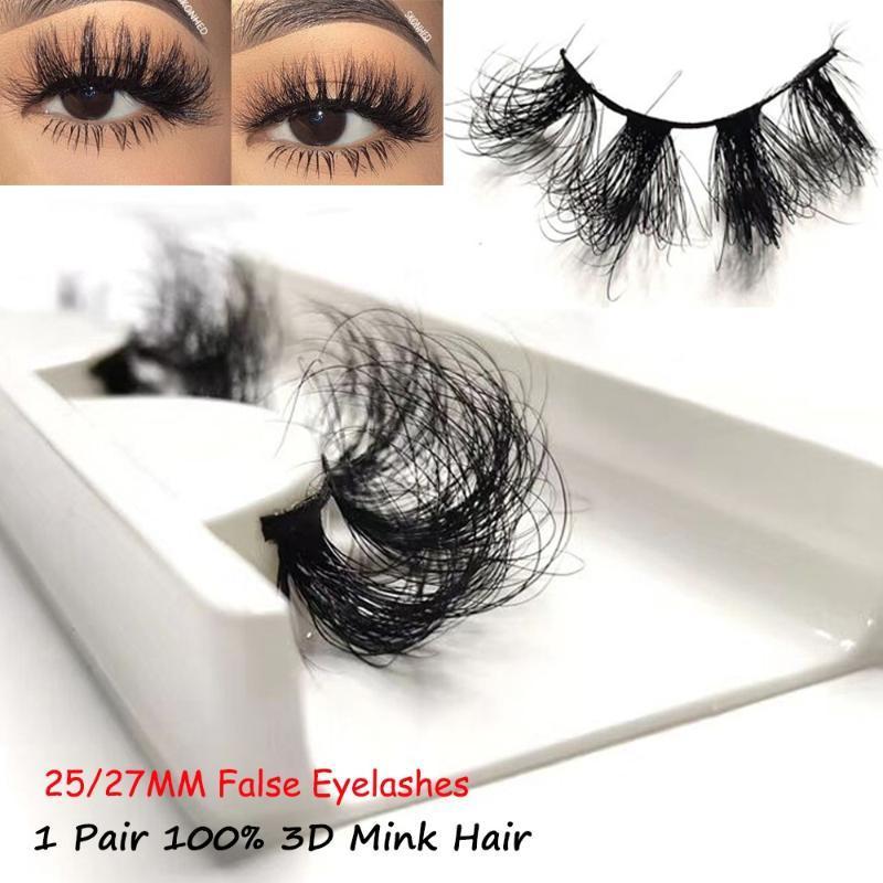 1 Çifti 25 / 27mm Cruelty-Free Uzatma% 100 3D Vizon Saç Yanlış Eyelashes Uzun Wispies Kabarık Çok katmanlı yapılar Kalın Kirpikleri Makyaj