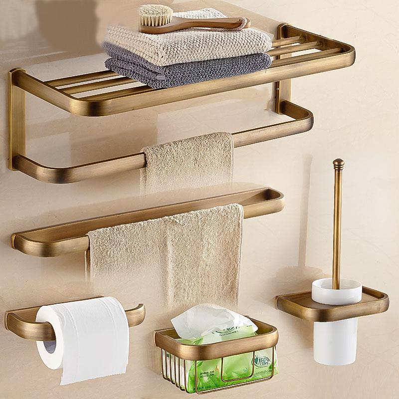 골동품 청동 욕실 액세서리 세트 수건 선반 타월 홀더 화장지 홀더 로브 후크 목욕 하드웨어