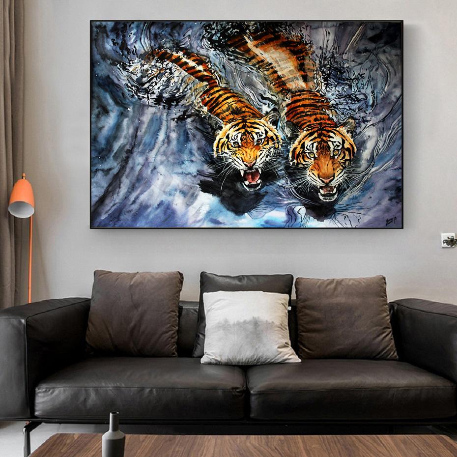 Große Tiger Gemälde Tiere Leinwand-Wand-Kunst Poster Dekorative Wasser-Farbdrucke beste Geschenke Wohnzimmer Wohnkultur