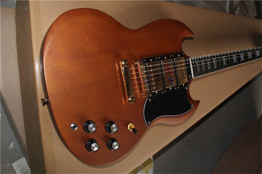 Ücretsiz kargo özel kahverengi ahşap gitar, altın donanım, maun vücut, gülağacı klavye, hh pikaplar, beyaz pickguard, köprü