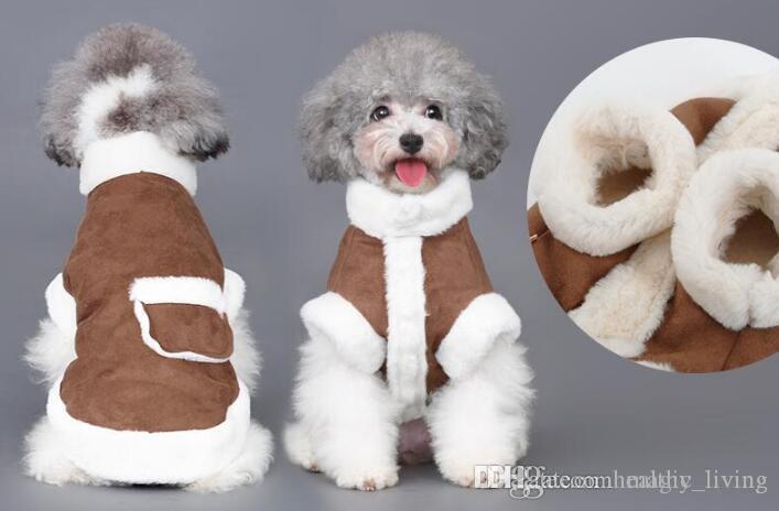 Pet зима теплой одежды собака вниз пальто мягкого досуга жилет Браун Для Cat Pet Жилетого Пальто Одежды зоотовары 215