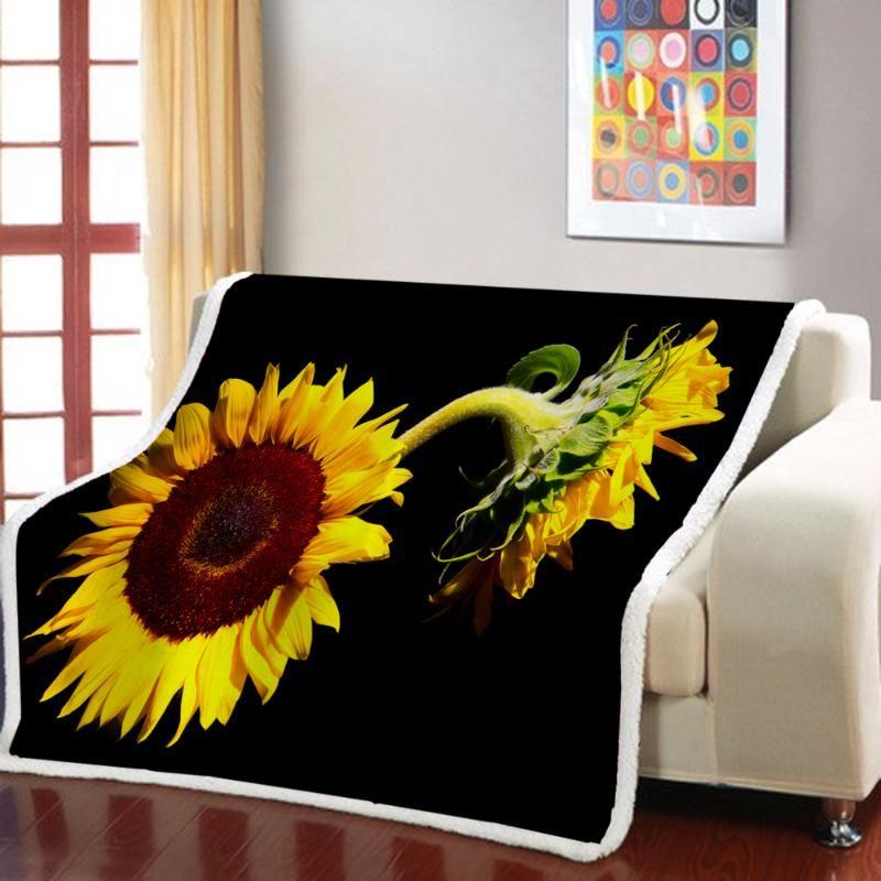Sunflower 3D Print Beautiful Plant Bedding Square Picnic Travel Wool Soft Blanket Black Bedding Beautiful Flower Sherpa Blanket