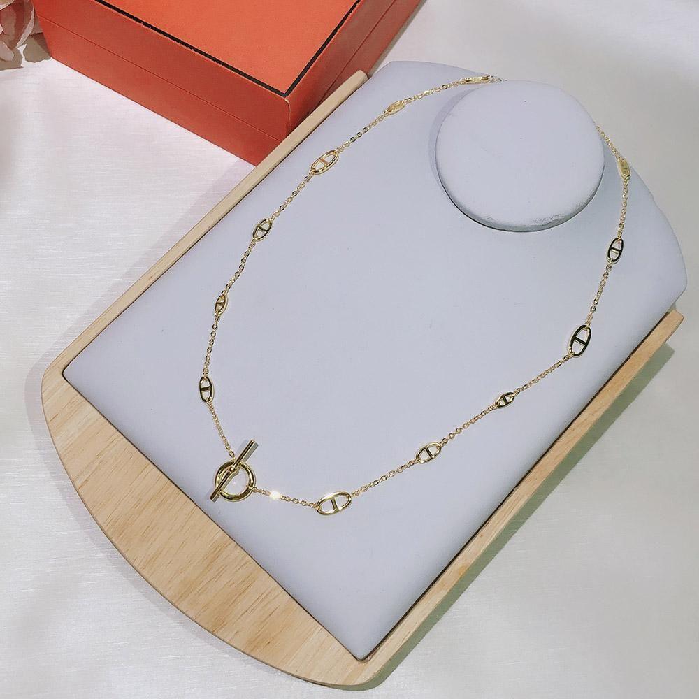 Горячая марка для женщин Письмо Round H Блокировка ювелирных S925 Серебряное ожерелье Set Франция Качество Golden Gold Превосходное качество ожерелье