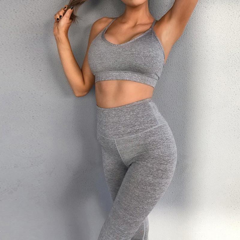Тренажерный зал Одежда женщин повседневная спортивная спортивная тренировка тренировок работает спортивные носить твердый цвет спортивные установки мода 2021 # 3
