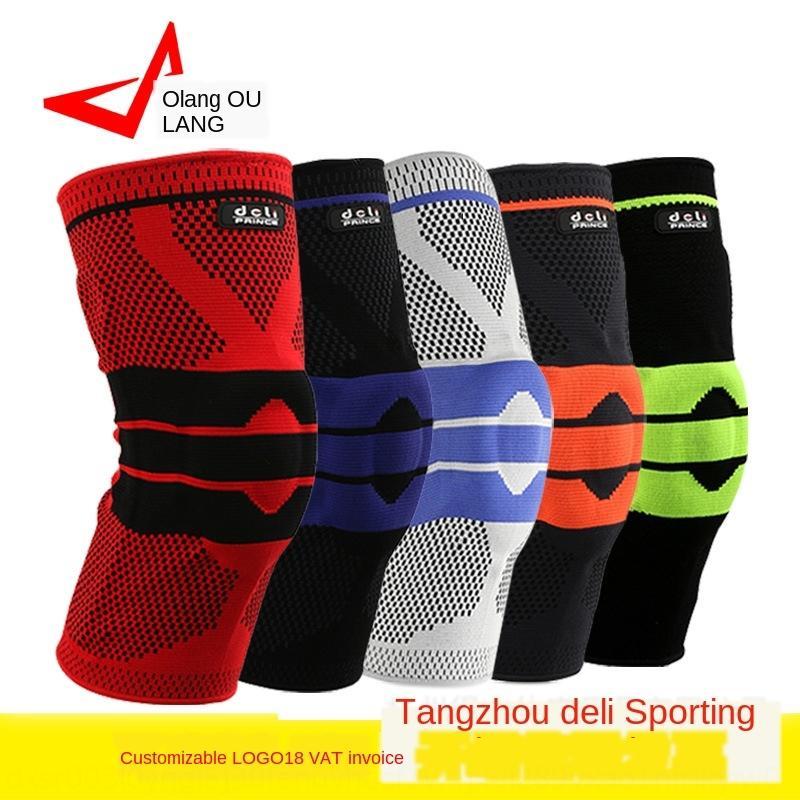 almohadillas de soporte de silicona de bicicletas basketballbasketball de silicona ciclismo ejecución de la primavera de rodilla 3D accidente tejer transpirable Nueva tr4oR