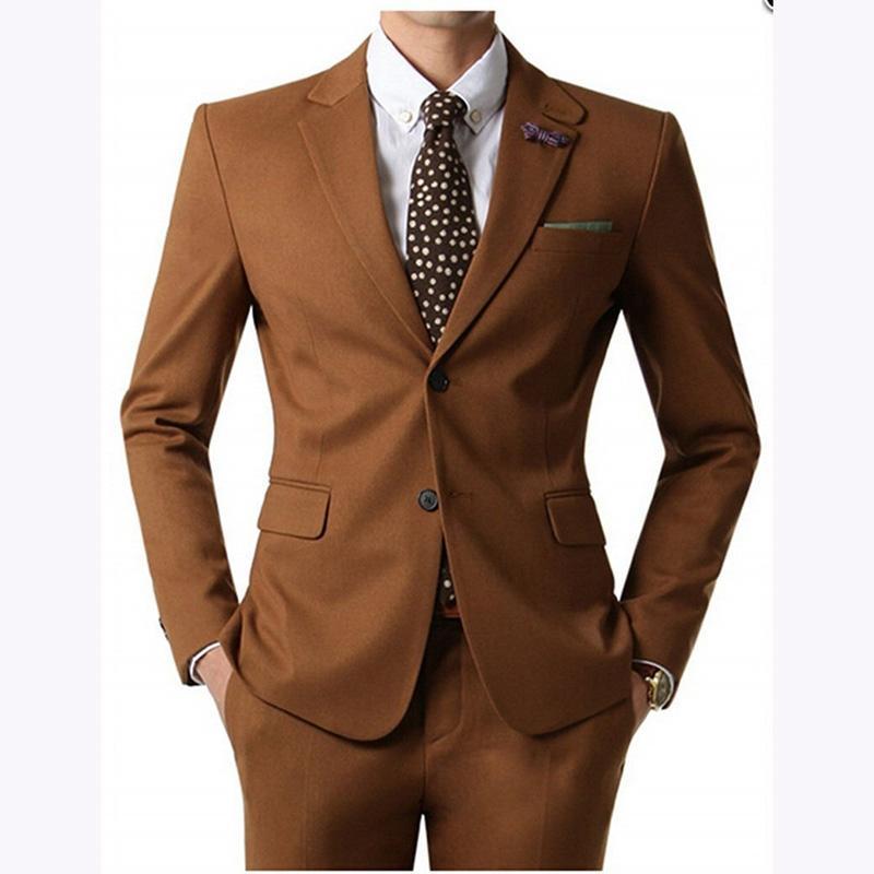 2020 Brown Suit Mens Wedding Suits su ordine misura sottile vestito di affari di modo degli uomini smoking dello sposo insieme delle 2 parti (giacca + pantaloni)