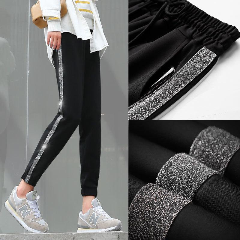 Fashion Side Stripe Women Harem Pants Autumn Winter New Arrival Hot Female Loose Casual Solid Color Classic Pants Trousers T200223