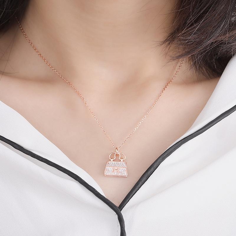 D S925 Sterling Silver ornamento femminile freddo di modo borsa della collana di H Lettera Borsa gioielleria collana in argento personalizzato MOQ1
