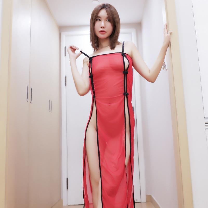 lylBQ Seksi seksi sapan sapan cheongsam gazlı bez iç çamaşırı yüksek bölünmüş elbise tutku şeffaf takım şeffaf elbise saç maruz