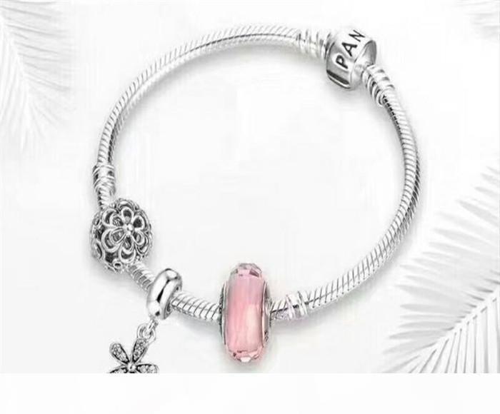 Authentique Argent 925 perles de pierre Moments Bracelet avec P Signature fermoir Fits Charms Bijoux Style Designer Avec boîte