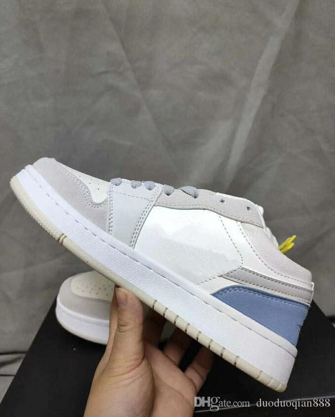 Moda Masculina e Mulher Skate Sapatos de Esportes 2020 Homens Mulheres Low Leather Casual Outdoor 1S OG Dunk Shoes Marca Sneakers 36-44