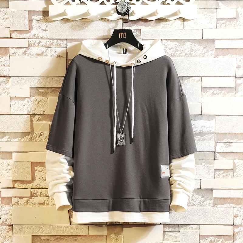 Moda Kaykay Hoodies Sweatshirt 2020 Erkekler'S Casual İlkbahar Sonbahar Siyah Elbise fazlalık M-5XL Hip Hop Patchwork Streetwear T200730