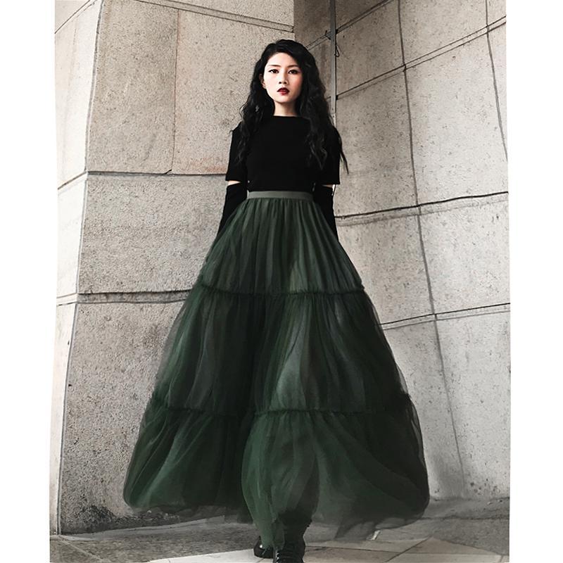 Freies Verschiffen 2020 neue Art und Weise Guaze lange Maxi Röcke für Frauen Frühlings-Herbst-Damen Röcke S-L A-Linie Grün-elastische hohe Taille