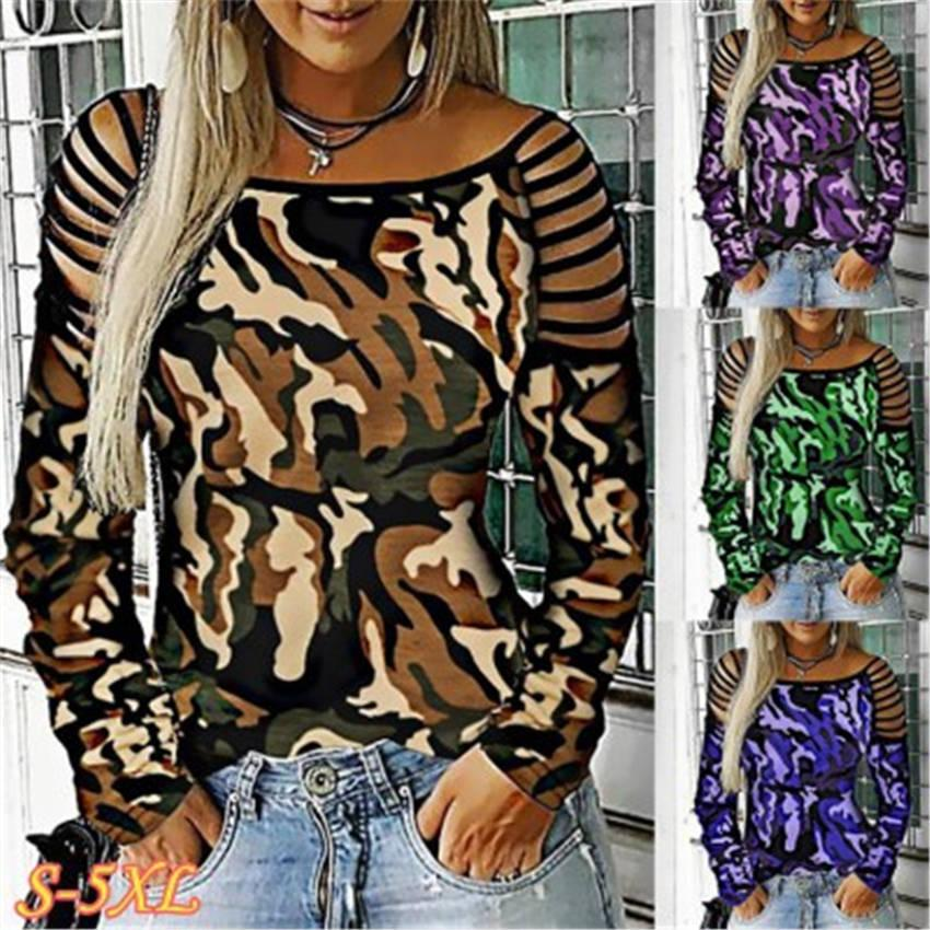 Mulheres Camisetas Camuflagem Sleeve Empilhado Neck quadrado Tops Solto Contraste Design Design Plus Size Womens Roupas