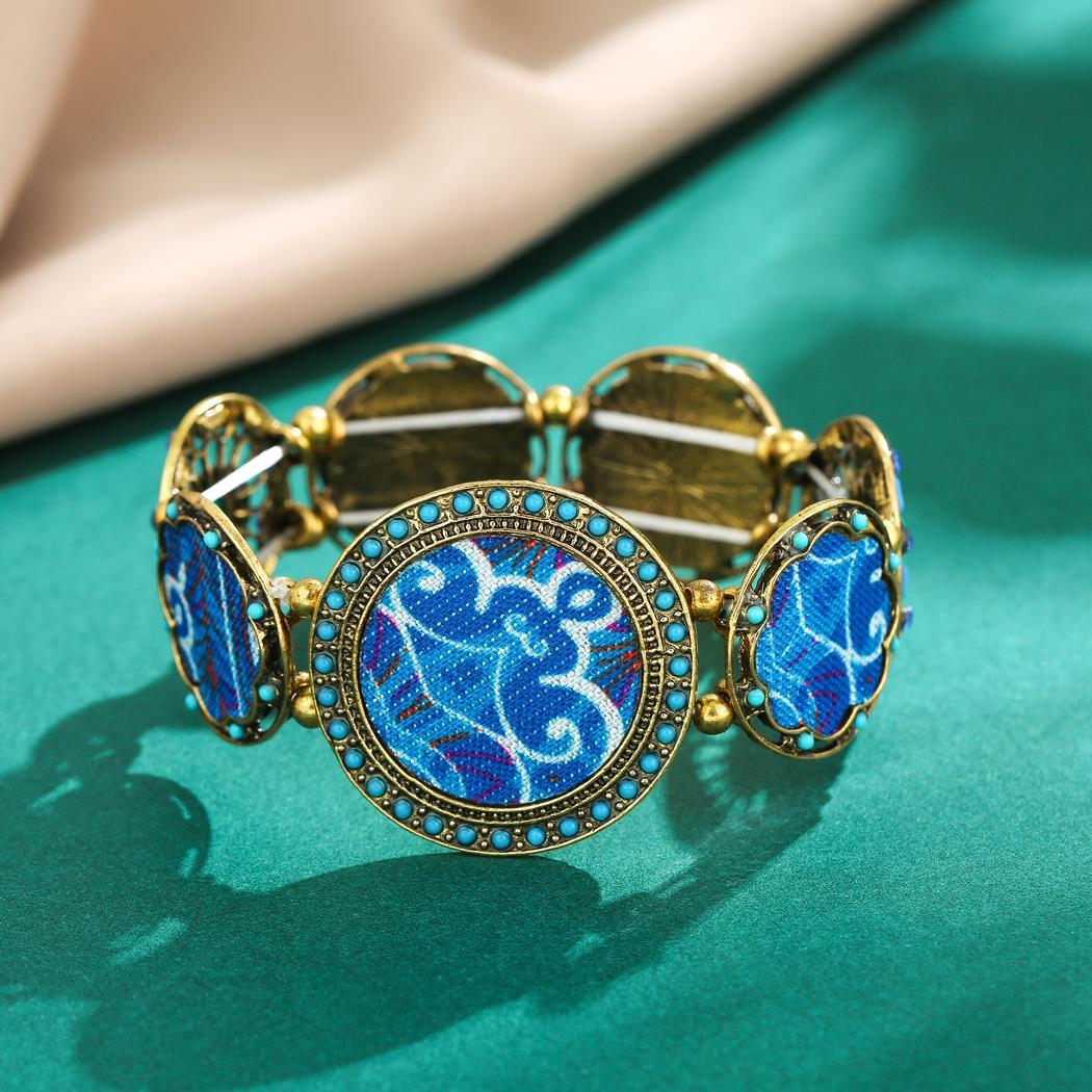 بوهو نمط ريترو مع جولة الملونة مجوهرات الخرز الاكريليك زهرة مطبوعة مطاطا سوار للمرأة