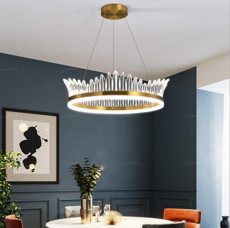 Modern Crown Design LUSTER Dimmable With Remote Control Chandelier Lighting For Bedroom Living Room Indoor Light Fixtures