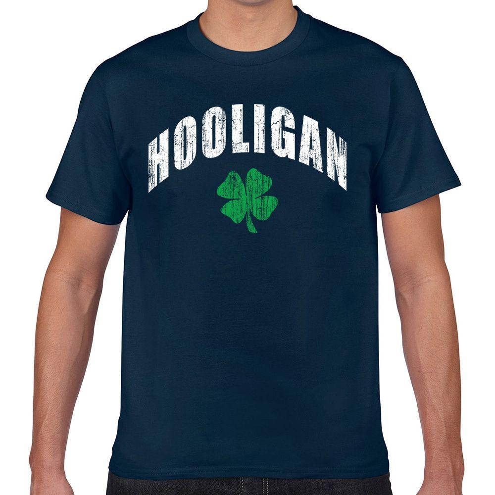 Tops T-Shirt Männer irish hooligan O-Ansatz Weinlese-Druck Male T-Shirt