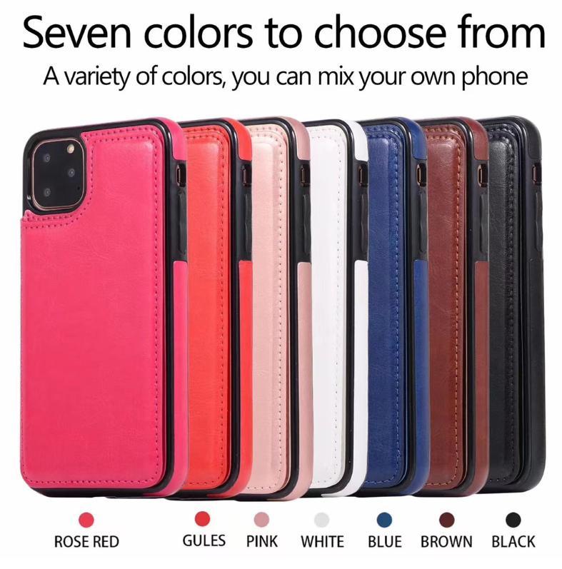 Telefone Case Carteira com Titular PU couro iPhone Kickstand Cartão Slots Capa Para 11 XS MAX XR 8 Samsung Nota 10 PLUS