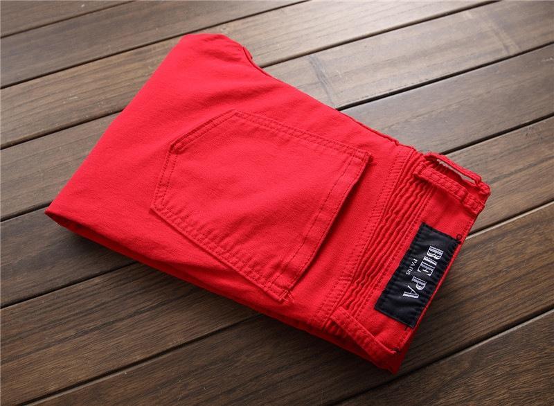 4OBrI Erkek moda New'in dikiş gece kulübünde tip erkekler alternatif ve kot küçük ayaklar mikro elastik kırmızı üst seviye kot 7120