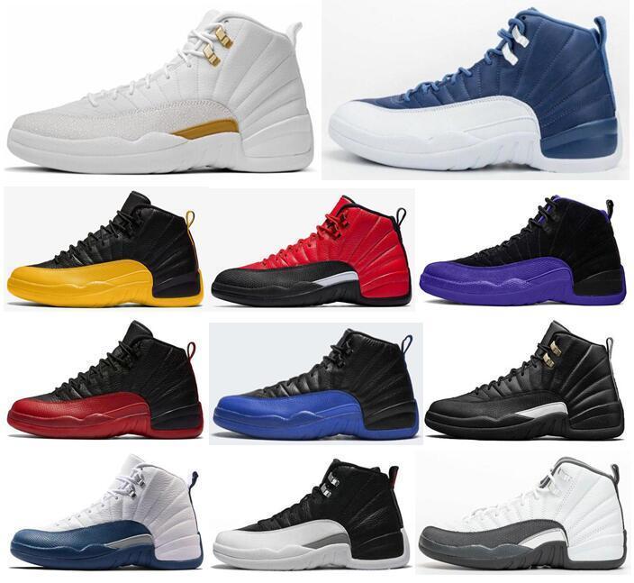 2020 Jumpman 12 لكرة السلة الأحذية 12S انفلونزا العكسي لعبة Retros جامعة جديدة الذهب 12 الحجر الأزرق الداكن كونكورد رجالي أحذية رياضية المدربين حجم 13
