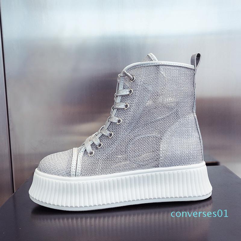 Высокого вырез дышащего толстой подошвы платформы обувь лето новых кружева случайных сетки обувь женщины CO01