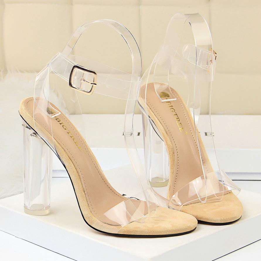 2020 sandalias del verano mujeres Una sola palabra hebilla de Hihg talón zapatos de la señora del dedo del pie cuadrado de la correa del tobillo de las mujeres Zapatos de Pary