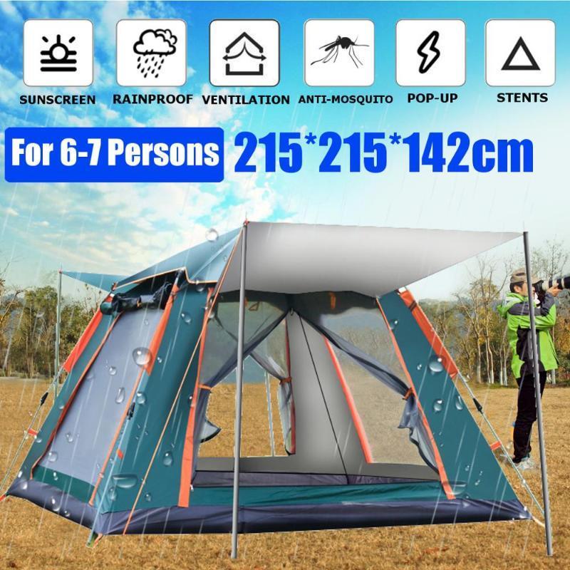 3-7 Person Автоматической палатки кемпинга Открытых сверхбольшие Большой семья Туристической палатка Двойного слой водонепроницаемый Easy Setup Походных Палатки