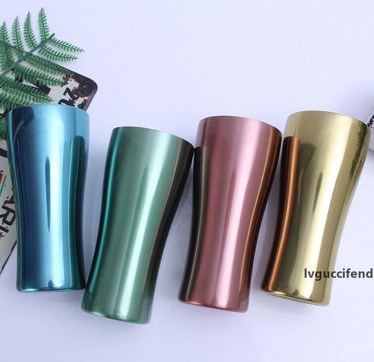 Tasses en acier inoxydable Tasses Voyage en métal à une seule couche colorée Coupes d'extérieur Accampement tasse de thé de café Bière YSY270