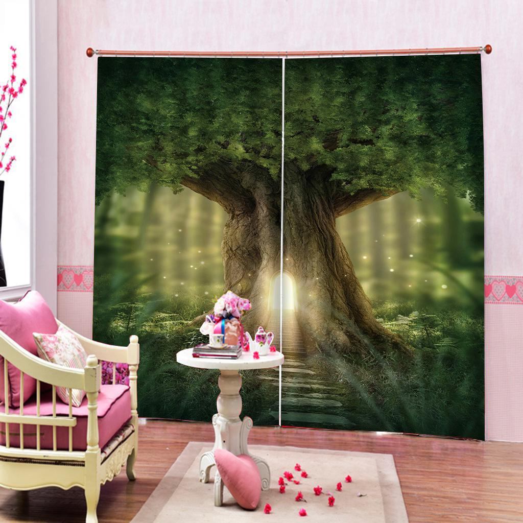 Custom Green Nature Tree Hole Forest Curtain For Living room Bathroom Blackout Curtains Home Decor Sets (Left and Right Side)