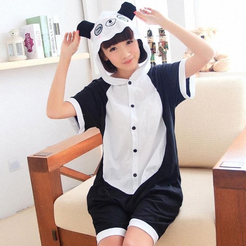 Panda été court Pyjama Femmes Hommes Adulte Animal Pijama coton Grenouillère nuit à capuche Halloween Costume Party vacances 0G7c #