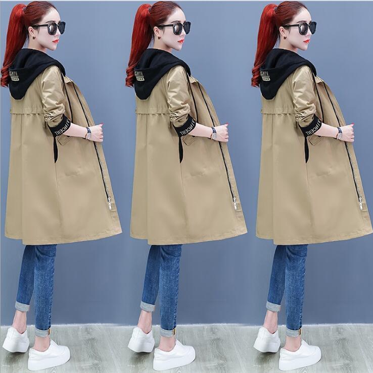 Hot Spring Stitching Felpa risvolti trincea delle donne del cappotto di media lunghezza nuove giacche a vento cappotti outerwear rivestimenti del cappotto