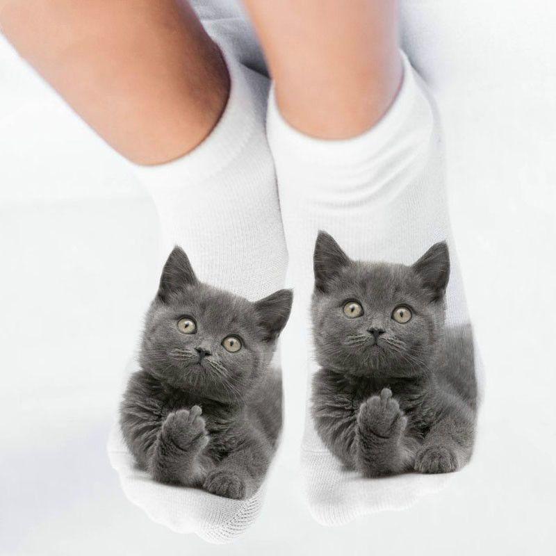 Animal divertido AprilGrass Mujer Marca 3D linda Imprimir Calcetines tobillo de las mujeres Calcetines Unisex Calcetines mujeres calientes Medias Moda Gato de la historieta de mujer 5