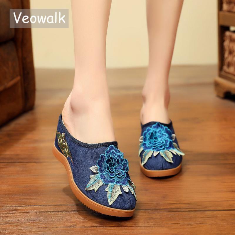 Veowalk Pamuk Çiçeği Aplikler Kadınlar Tuval Kama Terlik Yaz Retro Bayanlar Med Topuk Slaytlar Mules Konfor Platformlar Ayakkabı