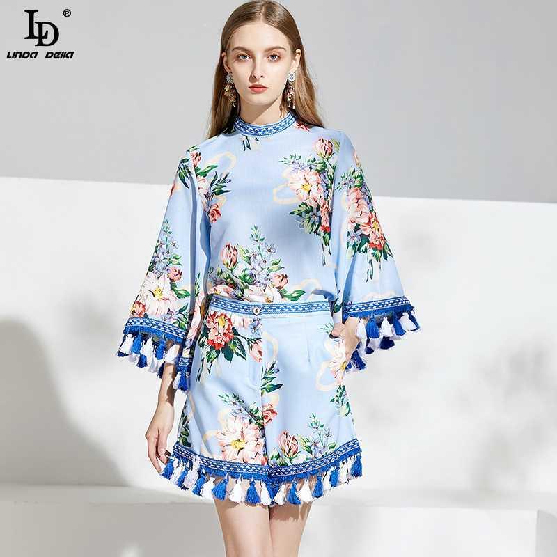 LD LINDA DELLA mode Shorts Designer 2 Deux Set Pieces imprimé floral Tassel et Top taille haute Shorts costumes Ensembles de femmes