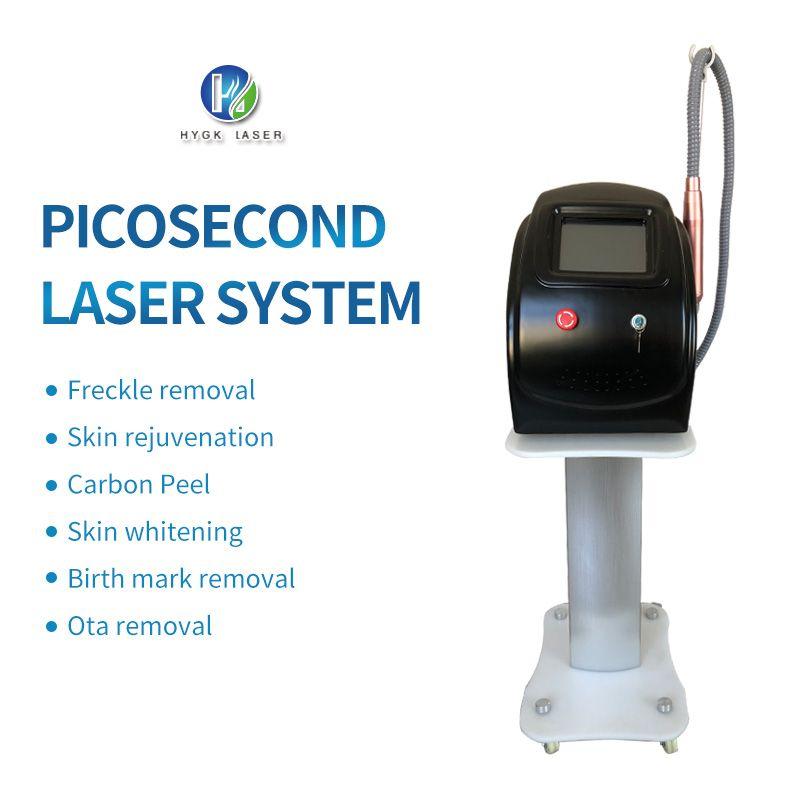 2020 Taşınabilir üç dalga boyu 1064nm / 532nm / 1320nm karbon kabuğu ve pigmentasyon çıkarma makinesi ile Pikosaniye nd yag lazer dövme kaldırma