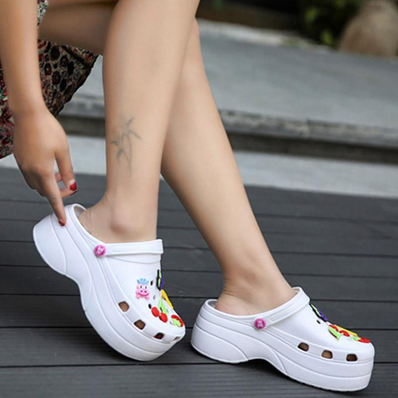 Сандалии Женщины Клин Сад обувь высокого качества Девушки Учащийся Удобная Летняя обувь Женщины дышащей Бич платформы сандалии