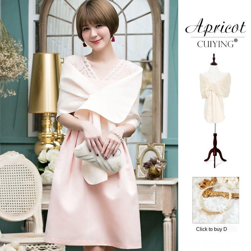 ZQsvy Cuiying cuiying2020 New Elegant Lady pure color cross wedding Air conditioning Wedding shawl dress section air conditioner banquet sha