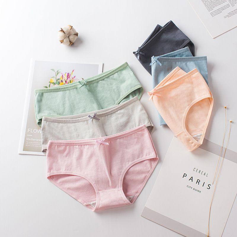 New Japan Kawaii Bow underwear women Cotton panties Briefs Plus size bielizna damska fashion majtki damskie Solid color calcinha