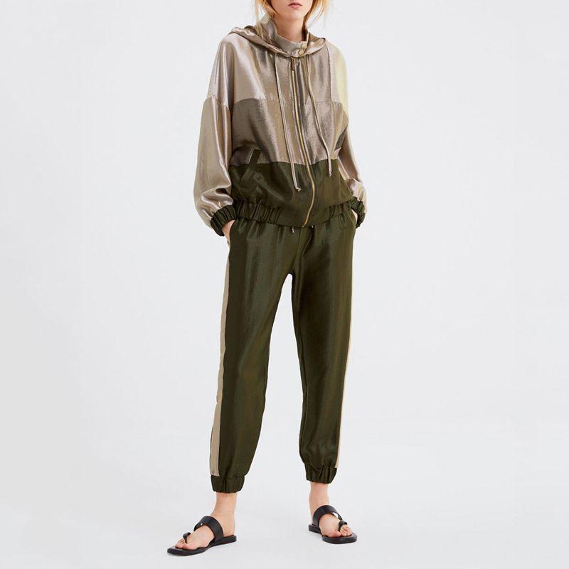 Conjunto Primavera 2020 femeninas de la chaqueta de béisbol remiendo verde del ejército sudadera con capucha jogging juegos de bragas Dos conjuntos de piezas chándales