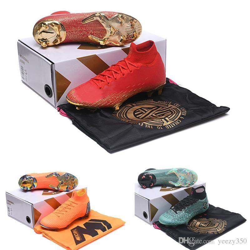 Children Mercurial Superfly VI Elit Football Boots FG Total Orange 360 Waterproof CR7 Outdoor Kids Soccer Cleats plyknit High tops for men