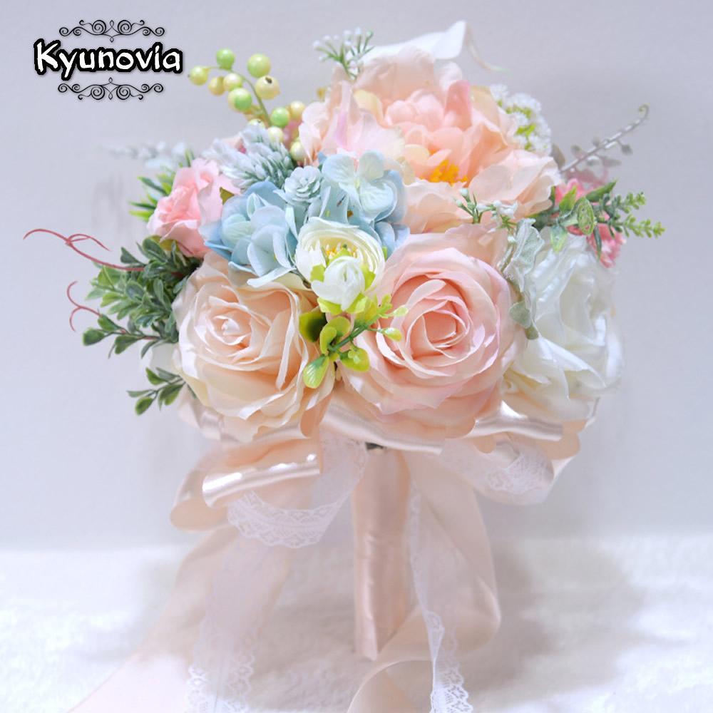 Kyunovia Schöne Wedding Bouquet 3pcs / set HandgelenkCorsage Boutonnieres Braut-Blumen-Blumenstrauß Blumen-Brautsträuße D119