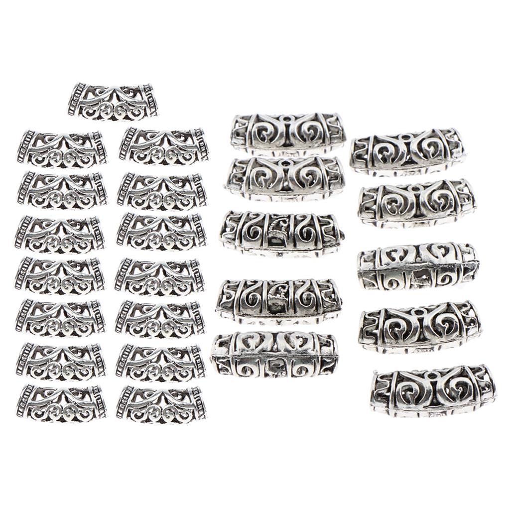 25pcs / Lot Dread Perles anneaux de verrouillage cheveux réglable cheveux Braid Cuff Silver Clip
