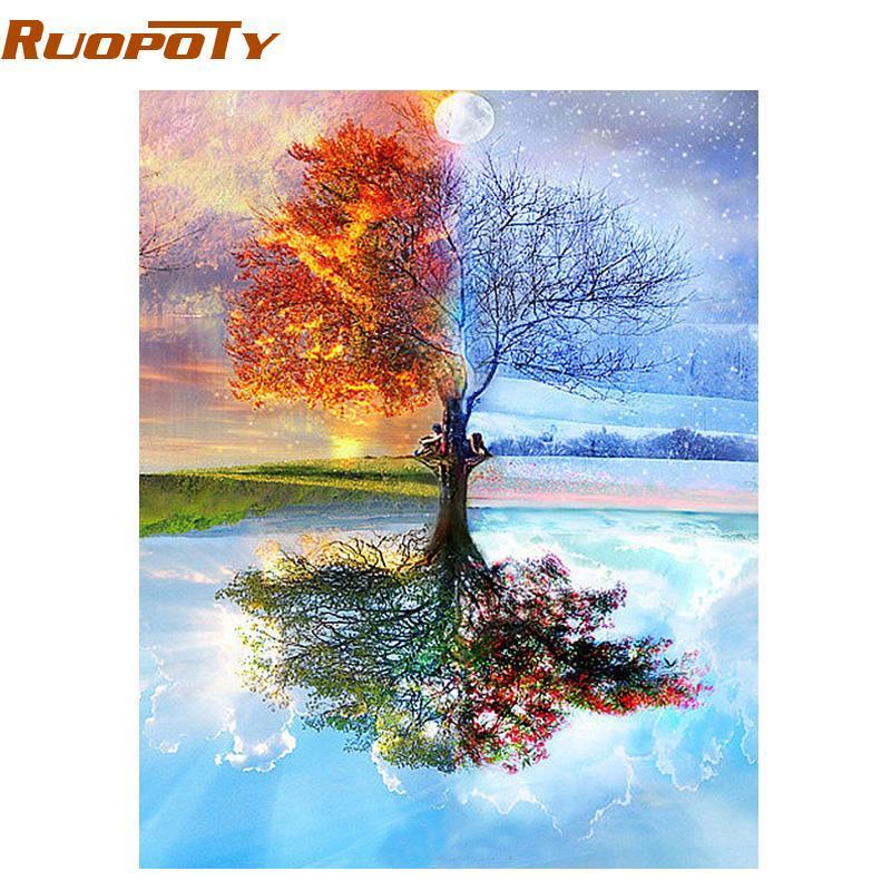 Marco RUOPOTY Árbol de bricolaje Pintar por números de Arte moderno de la pared para colorear por número de acrílico cuadro de la lona de pintura para la decoración del hogar